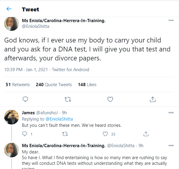 If My Husband Asks For DNA Test After Giving Birth, I'll Give Him The Test And Divorce Him — Nigerian Lady Says