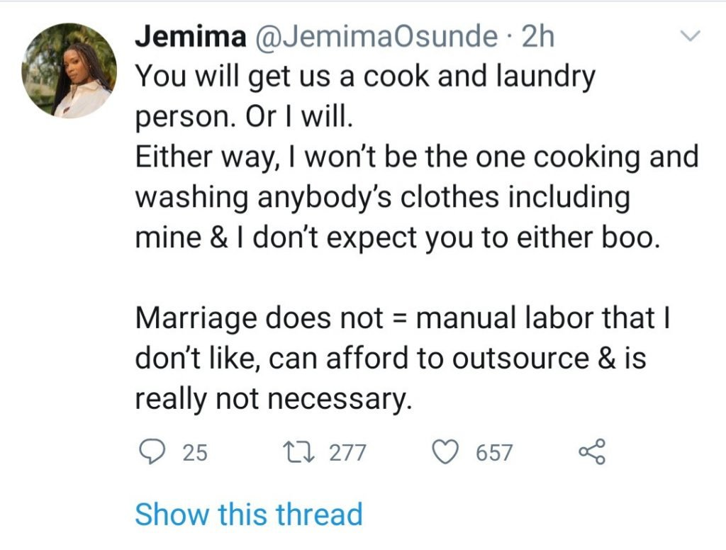 Actress Jemima Osunde To Future Husband: I Won't Be Cooking And Washing Anybody's Clothes